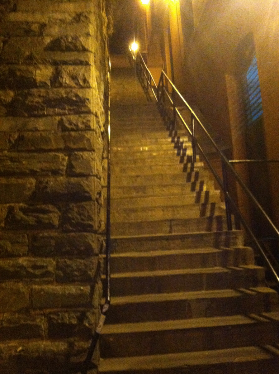 "The stairway to being a cold, quiet person might be a long, arduous one. (the ""Exorcist Stairs""  in Georgetown, Washington D.C.)"