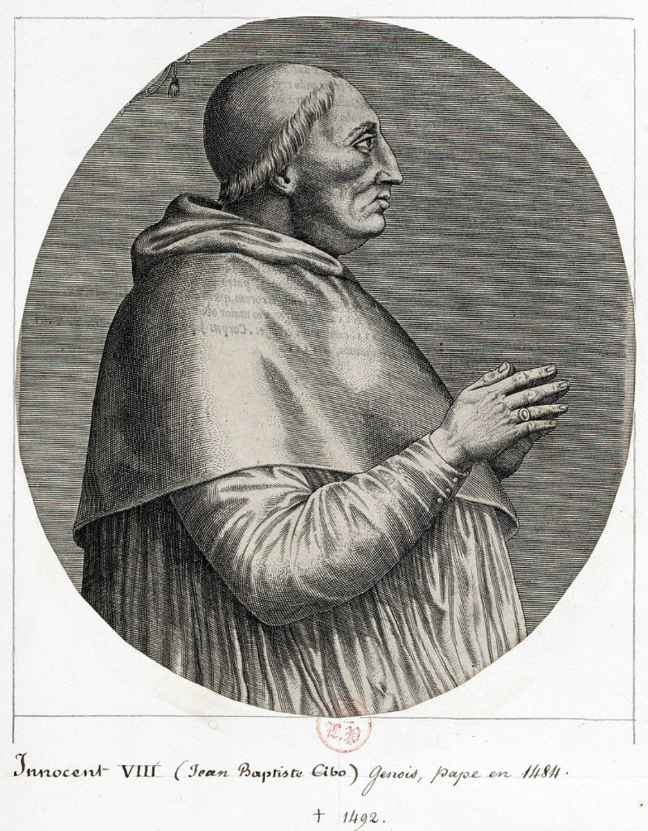 Pope Innocent VIII (Giovanni Battista Cybo); Pope from 1484 -1492.