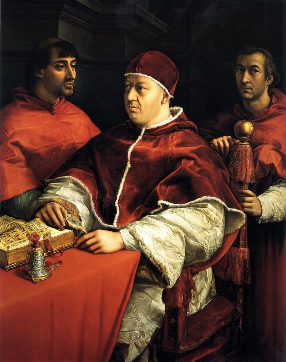 Pope Leo X and two cardinals.