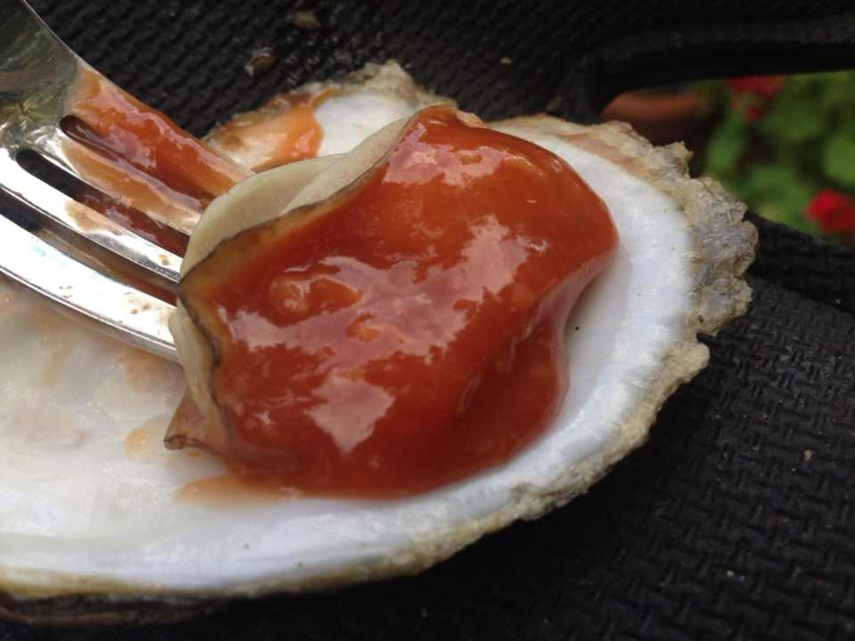 Barbecued Oyster in Cocktail Sauce
