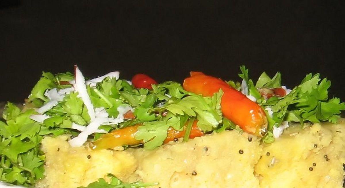 Dhokla is a Gujarati dish made of gram flour