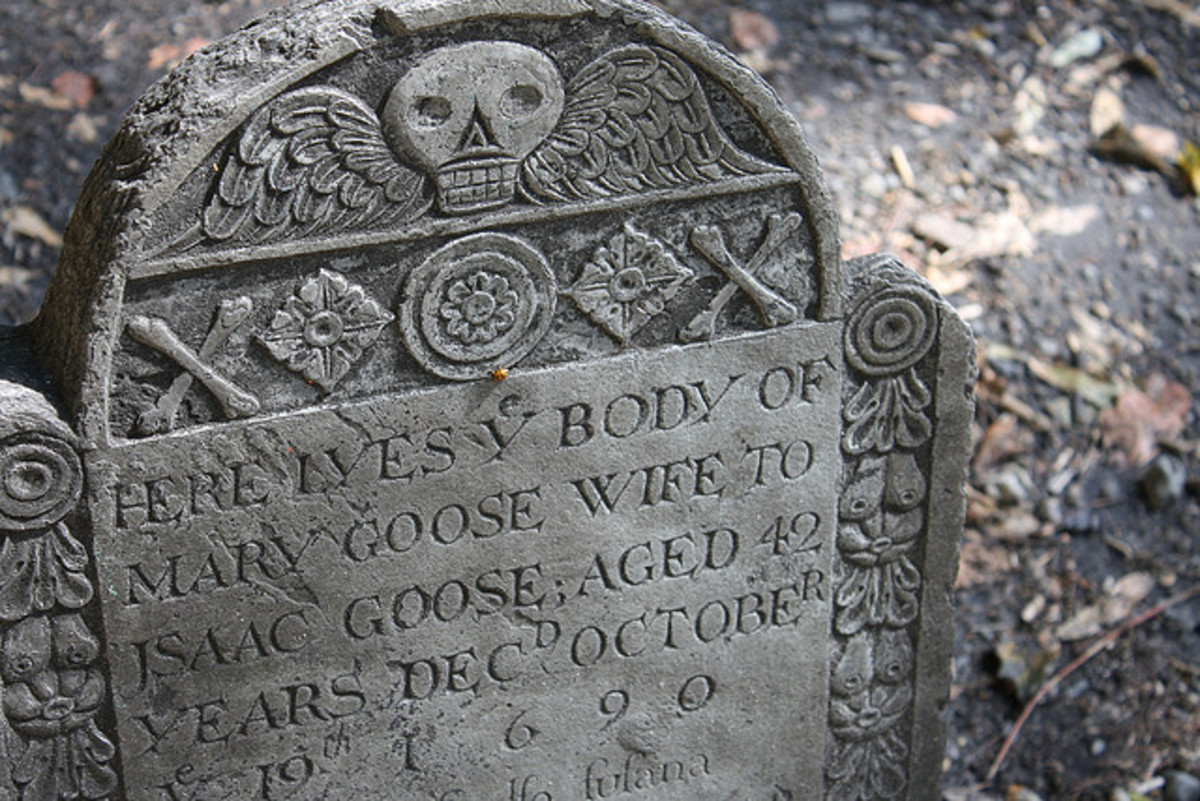 Gravestone of Elizabeth Goose, interred in Boston c.1690