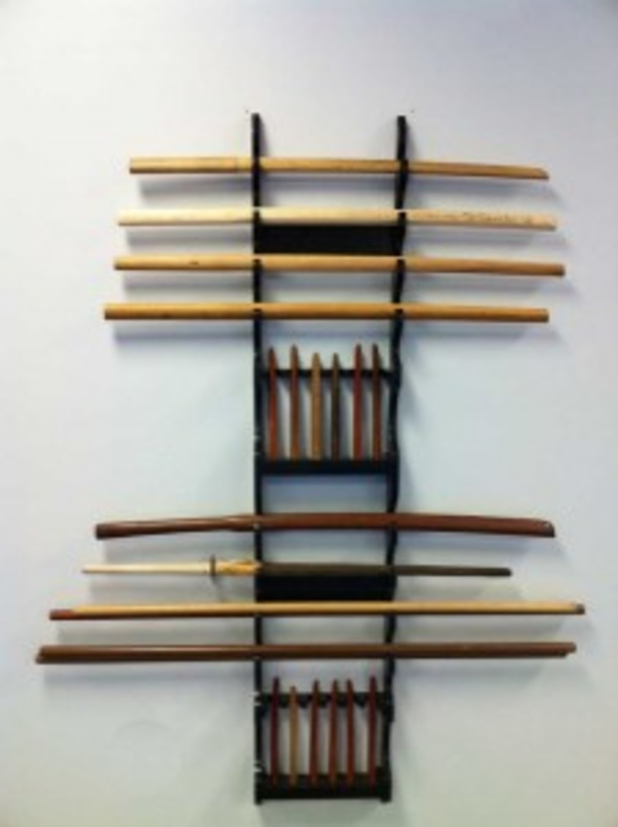 Standard Set of Aikido wooden weapons (staff, knives, and swords)