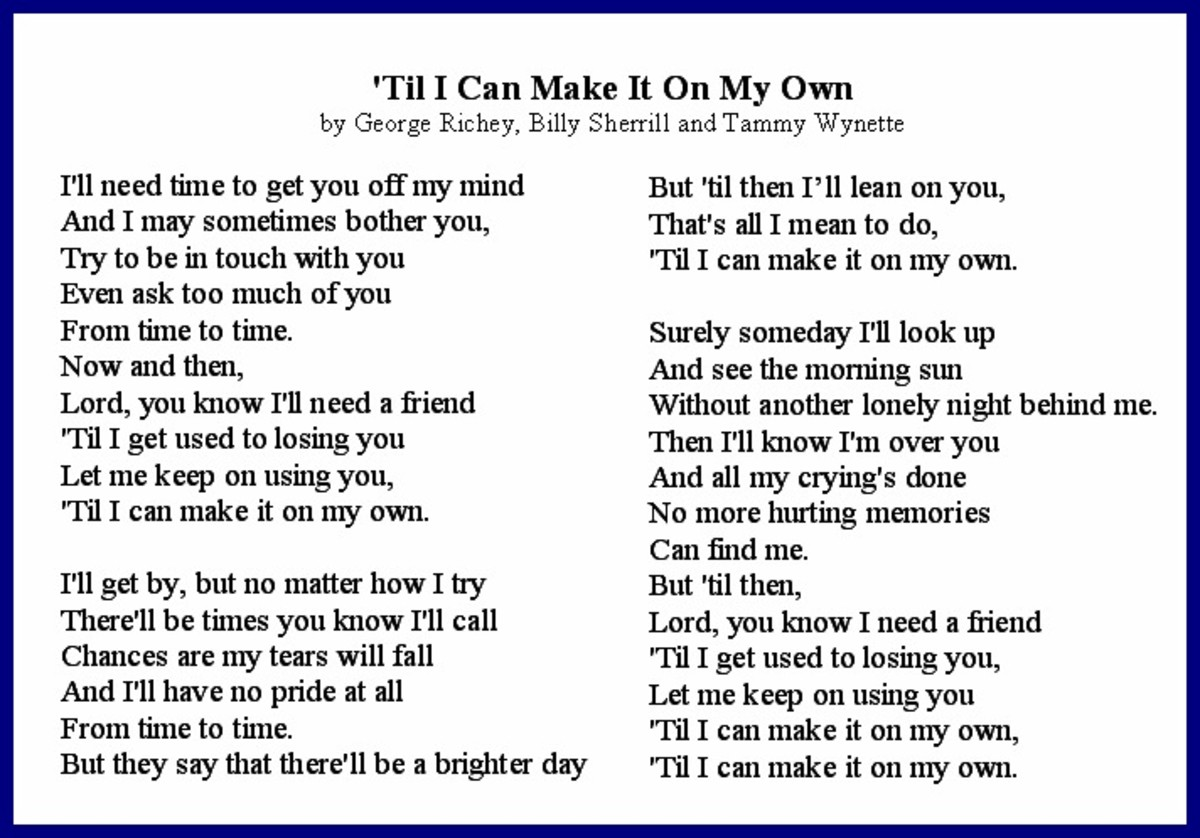'Til I Can Make It On My Own After Divorce Lyrics  by Tammy Wynette