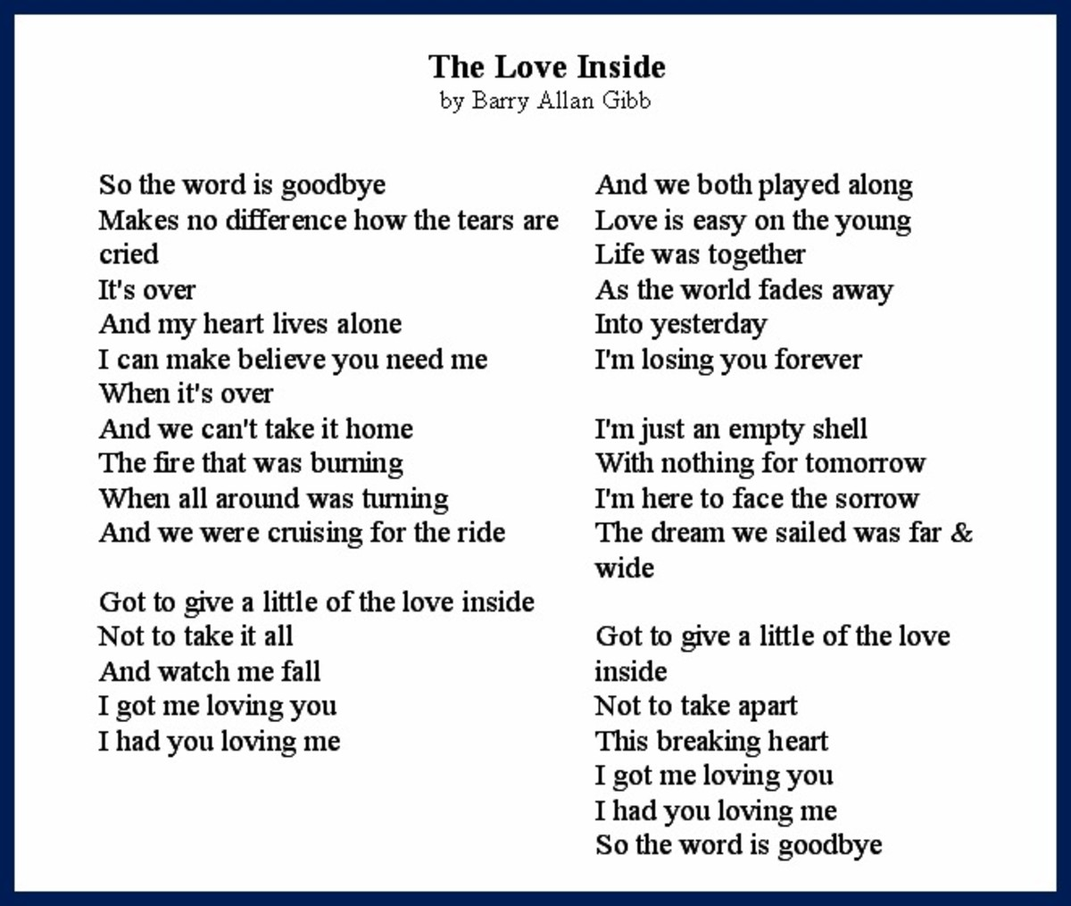 The Love Inside Song Lyrics by Barry Allan Gibb