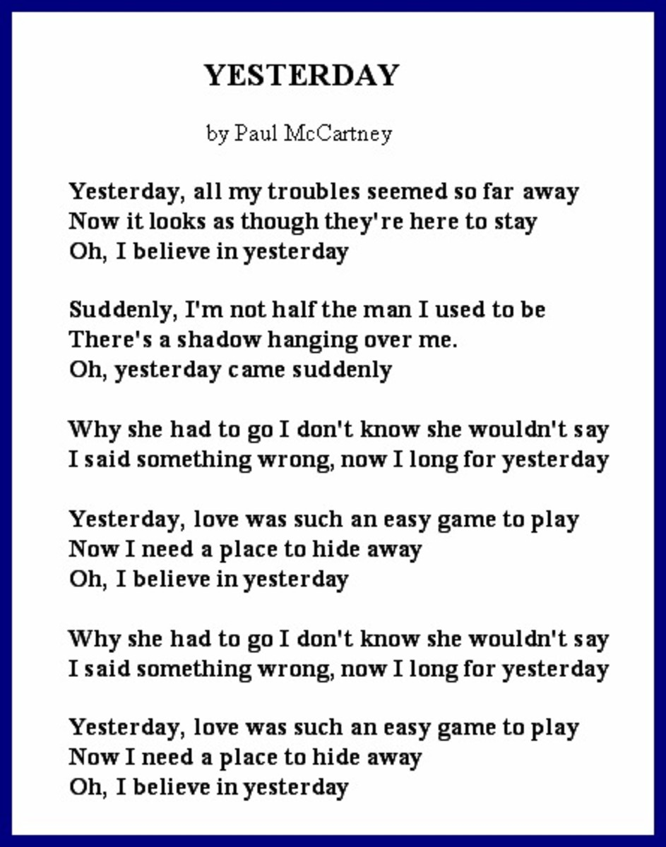 Divorce Song's Lyrics - Yesterday by Paul McCartney