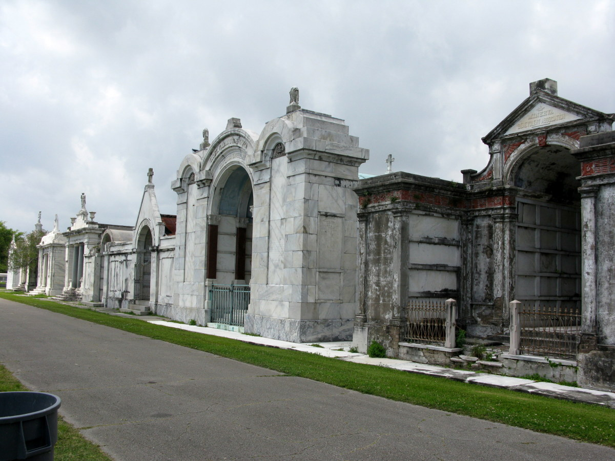 Avenue of old society tombs in Lakelawn Metairie Cemetery