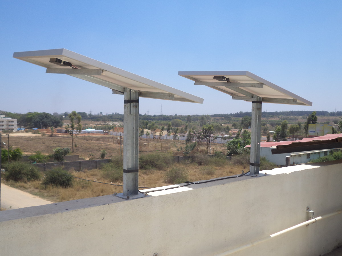 Solar panels can power lights, computers, fans and TV during the day.