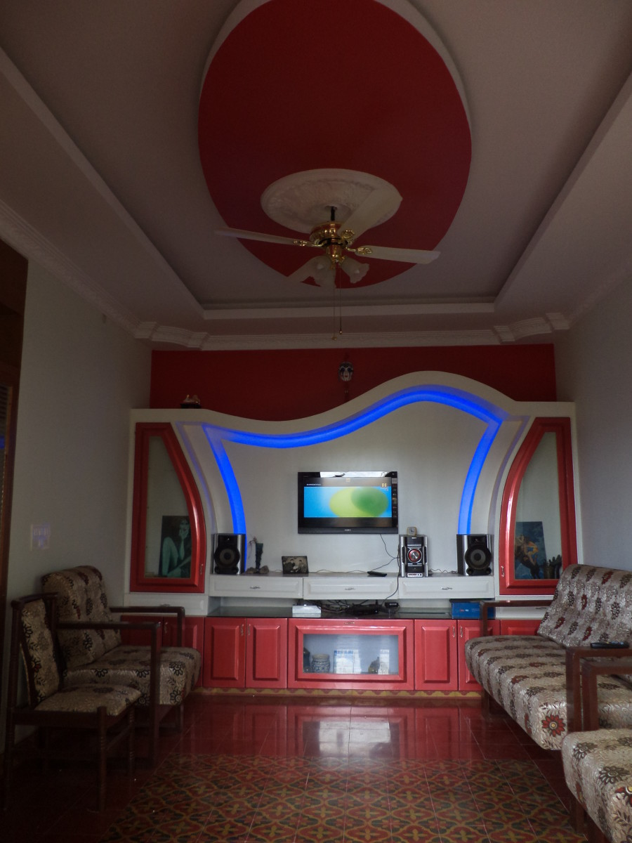 My Living Room - Blue LED in my TV Showcase, Athangudi Tiles, False Ceiling