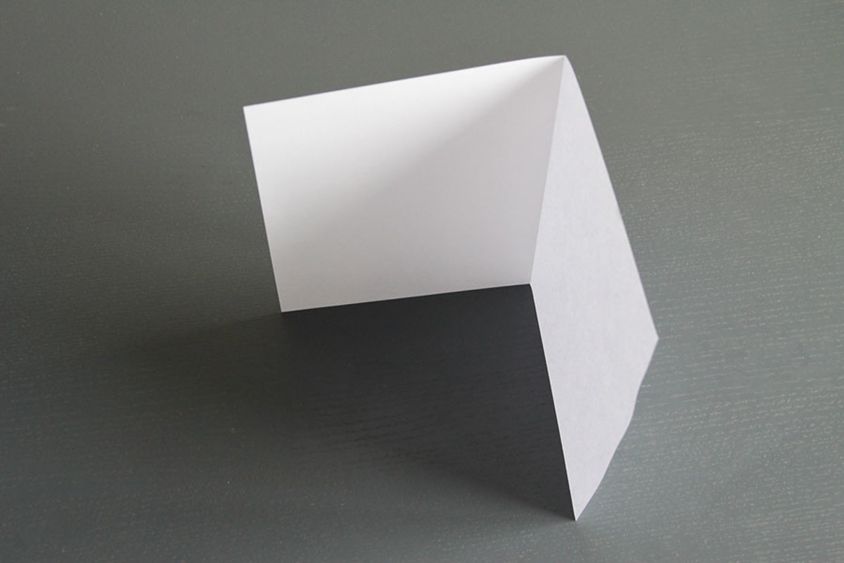 Fold both sheets of paper in half.