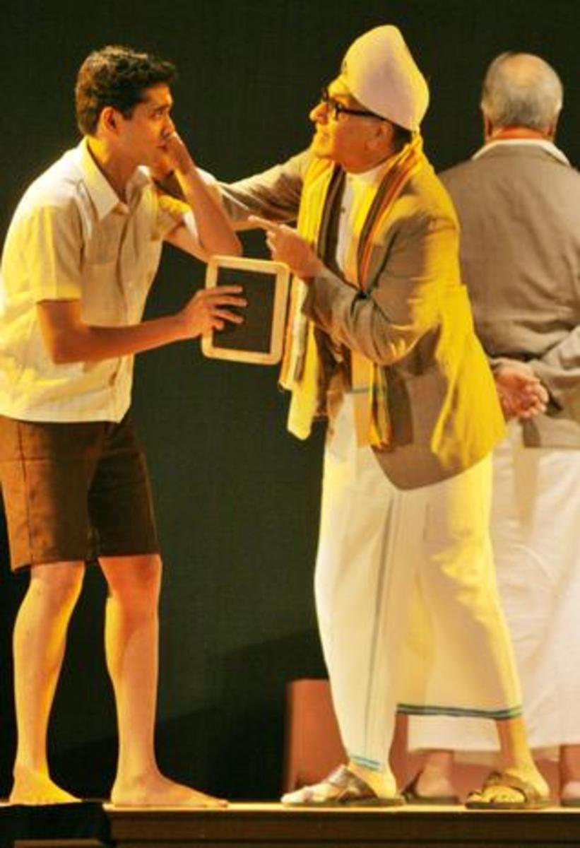 A scene from Swami and Friends stage drama. Swami and Friends also featured in a tv series.