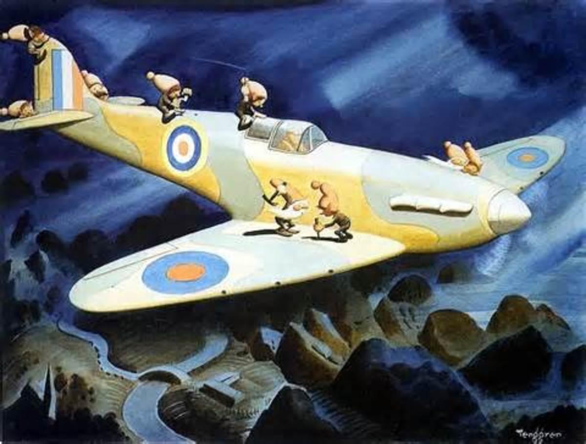 A wartime cartoon of Gremlins infesting an aircraft