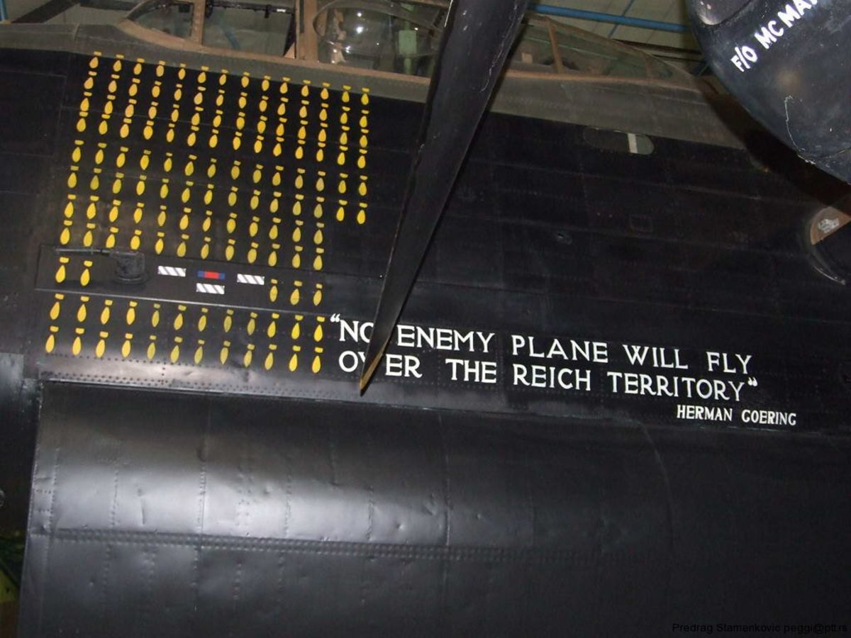 Just a reminder of Herman Goring's empty pledge on the side of a Lancaster bombers raid tally.