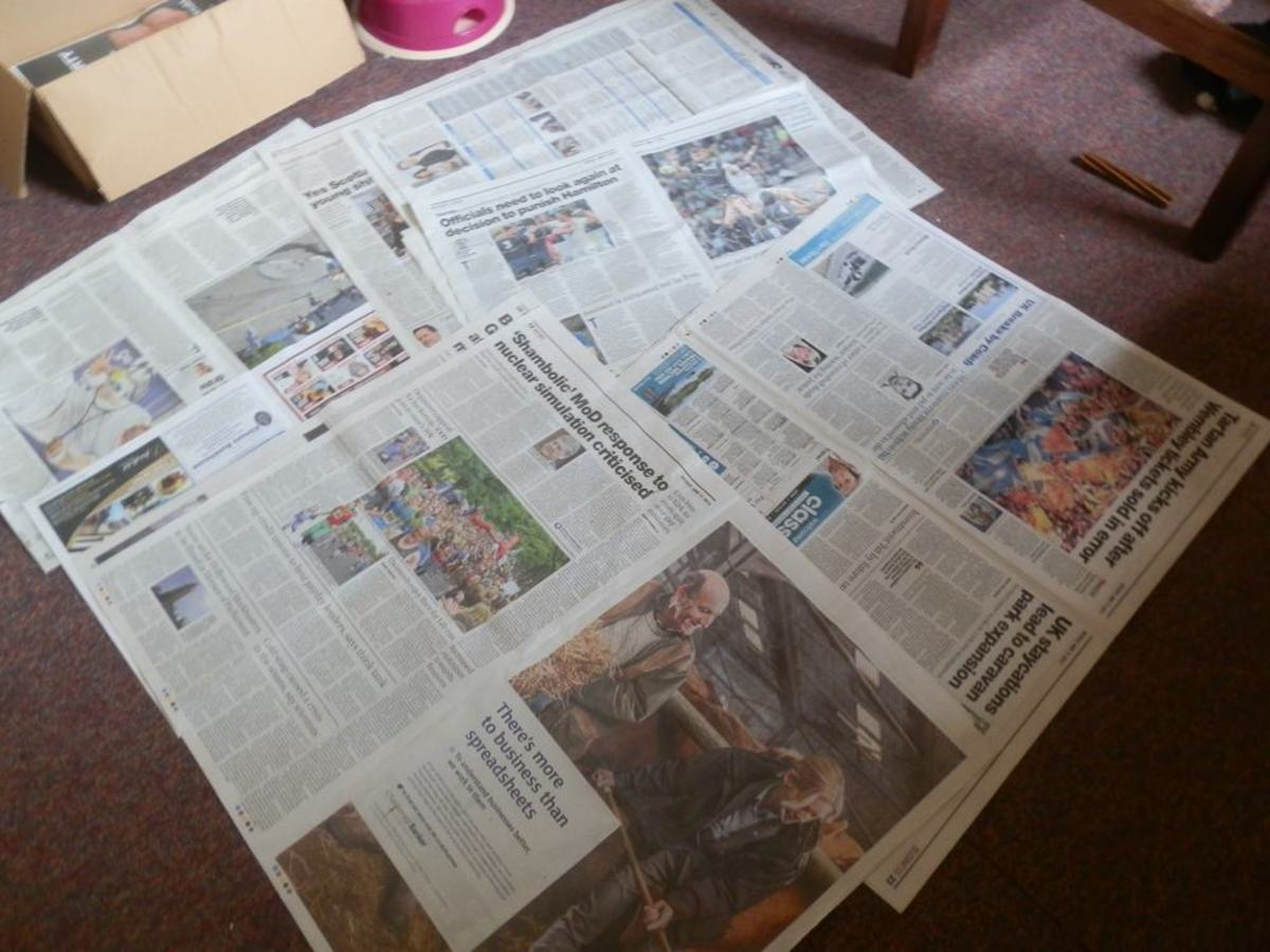 spread old newspapers on the floor to protect covering
