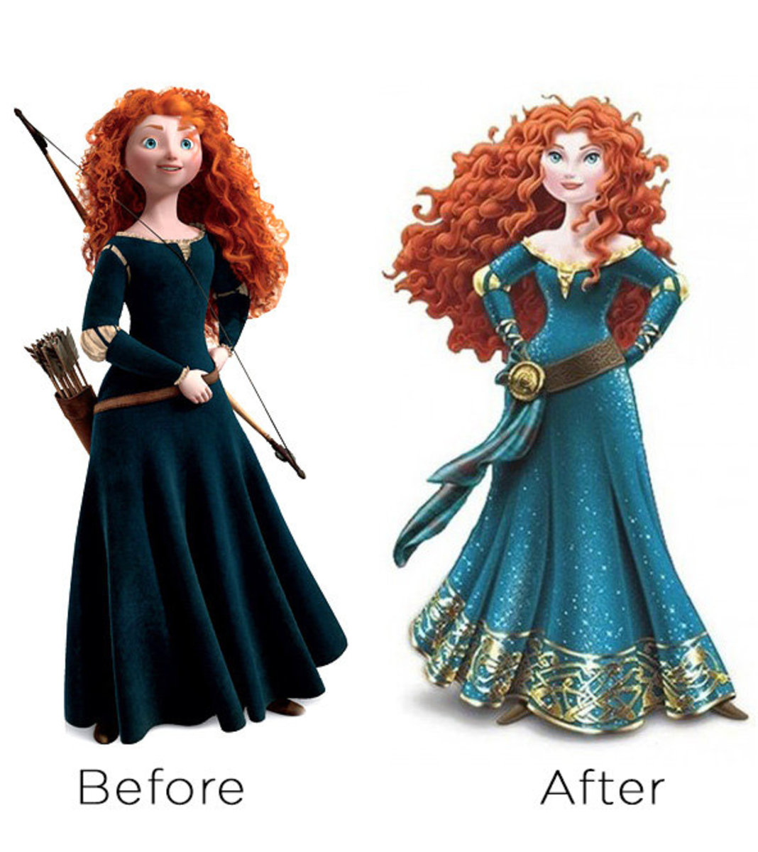The before and after Merida.