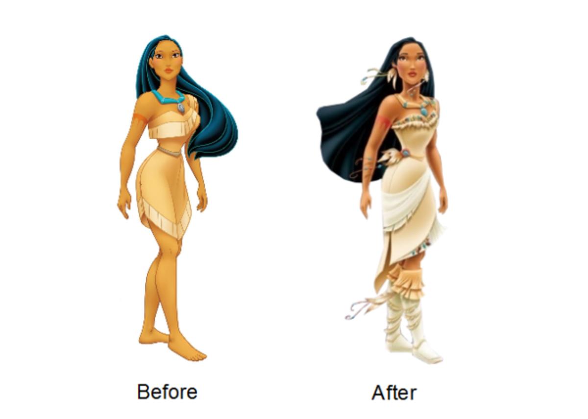 Pocahontas was redesigned into a more modernized outfit.