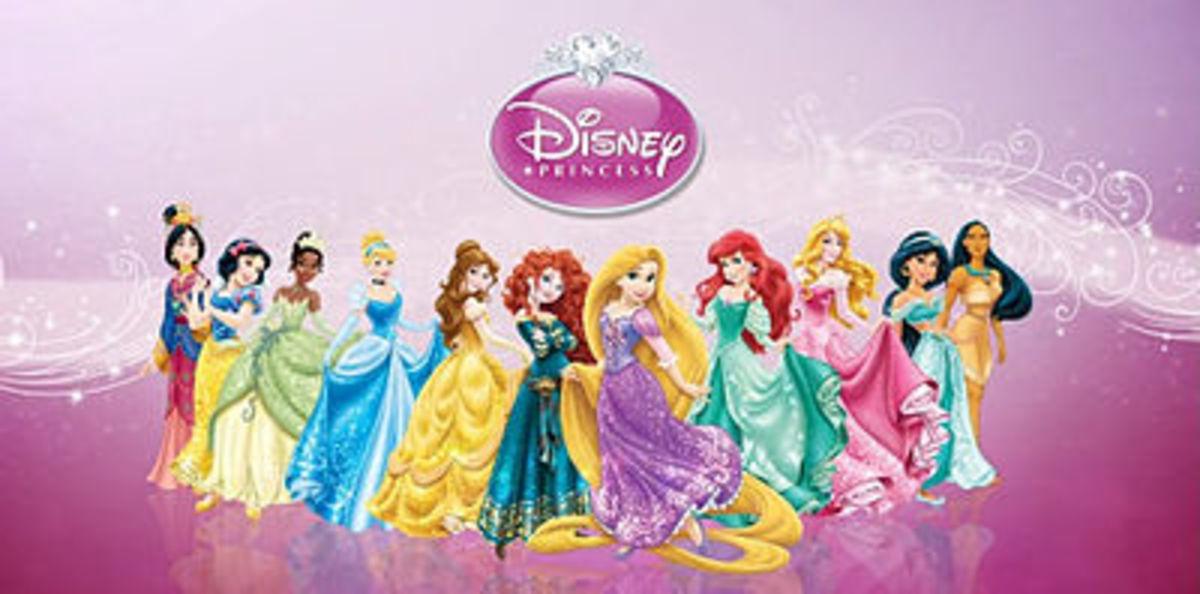 There are 11 Disney/Pixar Princesses in all. L to R: Mulan, Snow White, Tiana, Cinderella, Belle, Merida, Rapunzel, Ariel, Aurora, Jasmine, and Pocahontas.