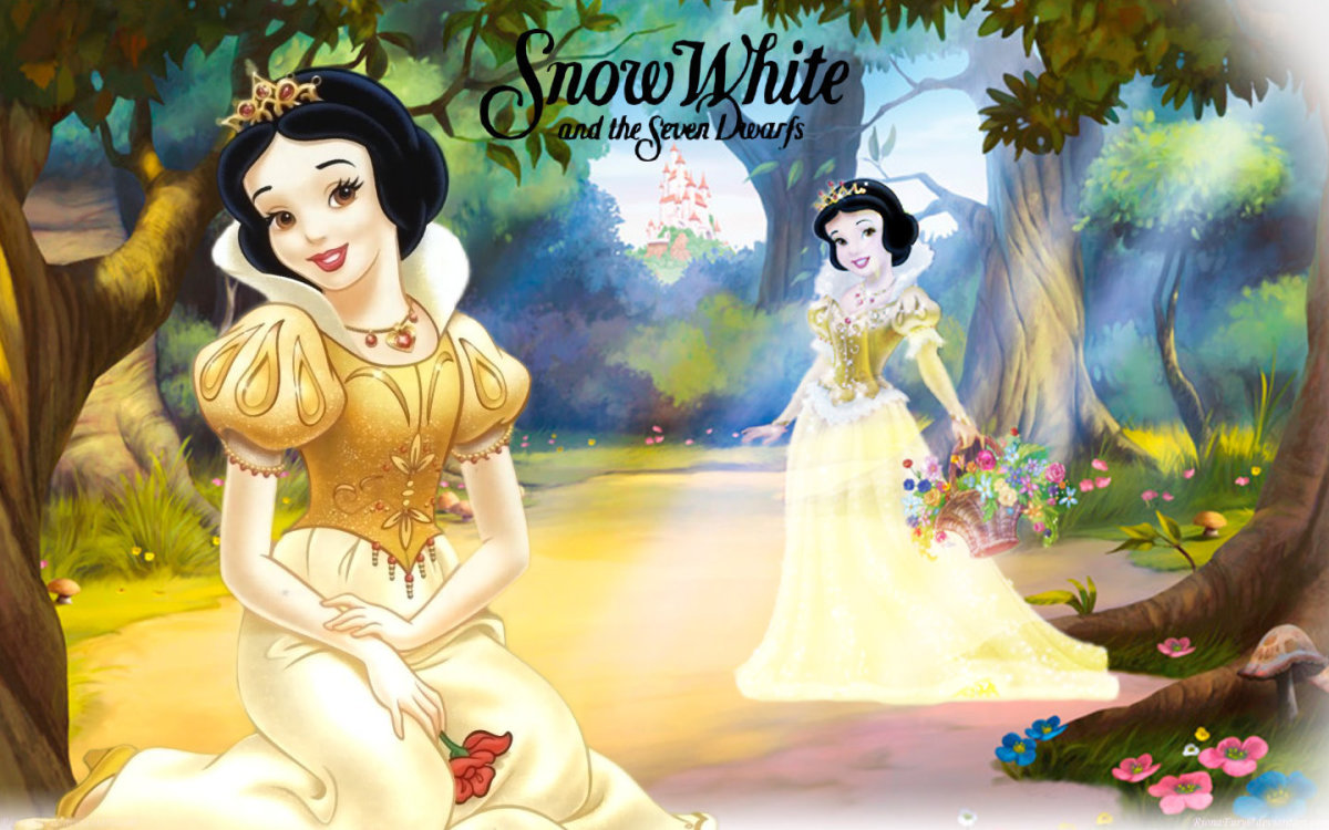 Snow White with her revamped princess dress