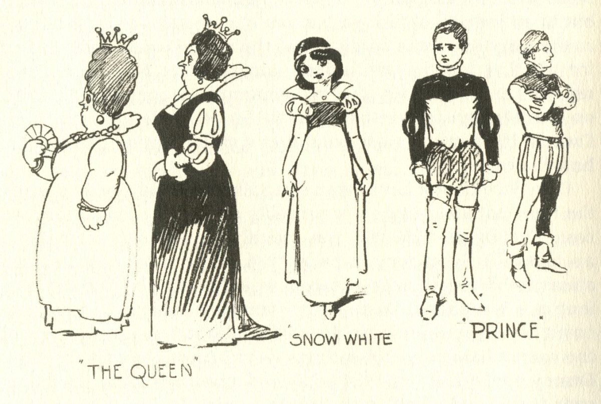 First sketches of Disney's Snow White characters 'The Queen', 'Snow White', and 'The Prince'.