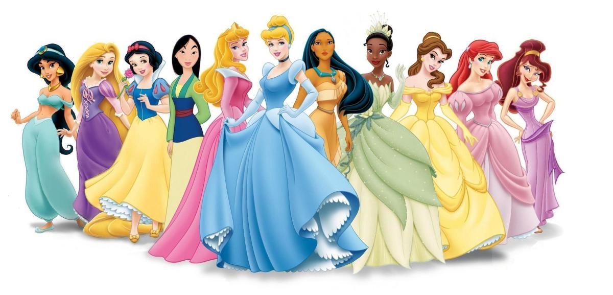 L to R: Jasmine, Rapunzel, Snow White, Mulan, Aurora, Cinderella, Pocahontas, Tiana, Belle, Ariel, Megara