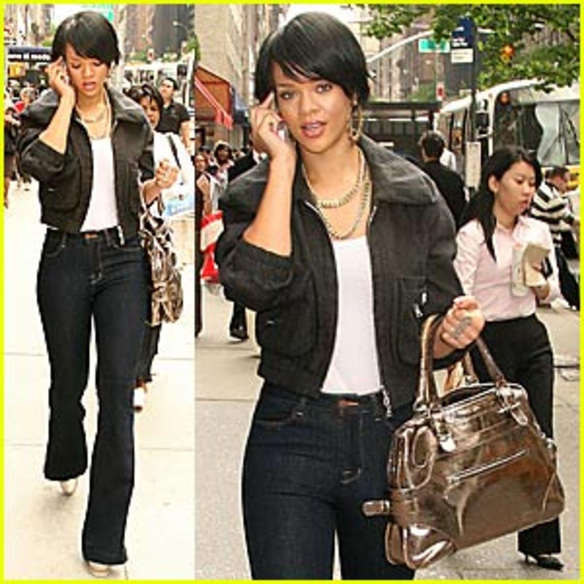 Rihanna looks fashionable on the go