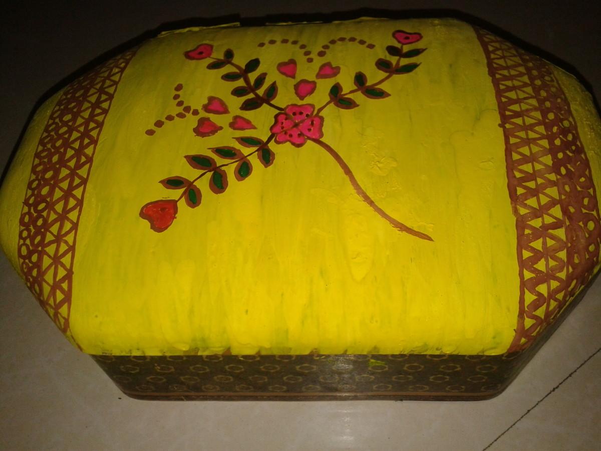 Ornament box decorated with Madhubani painting