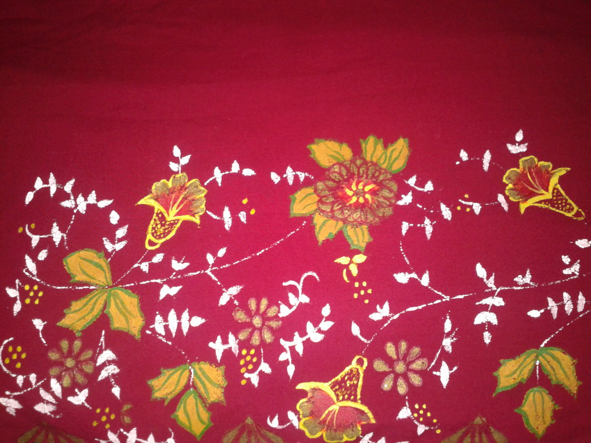 Madhubani painting in a dress material