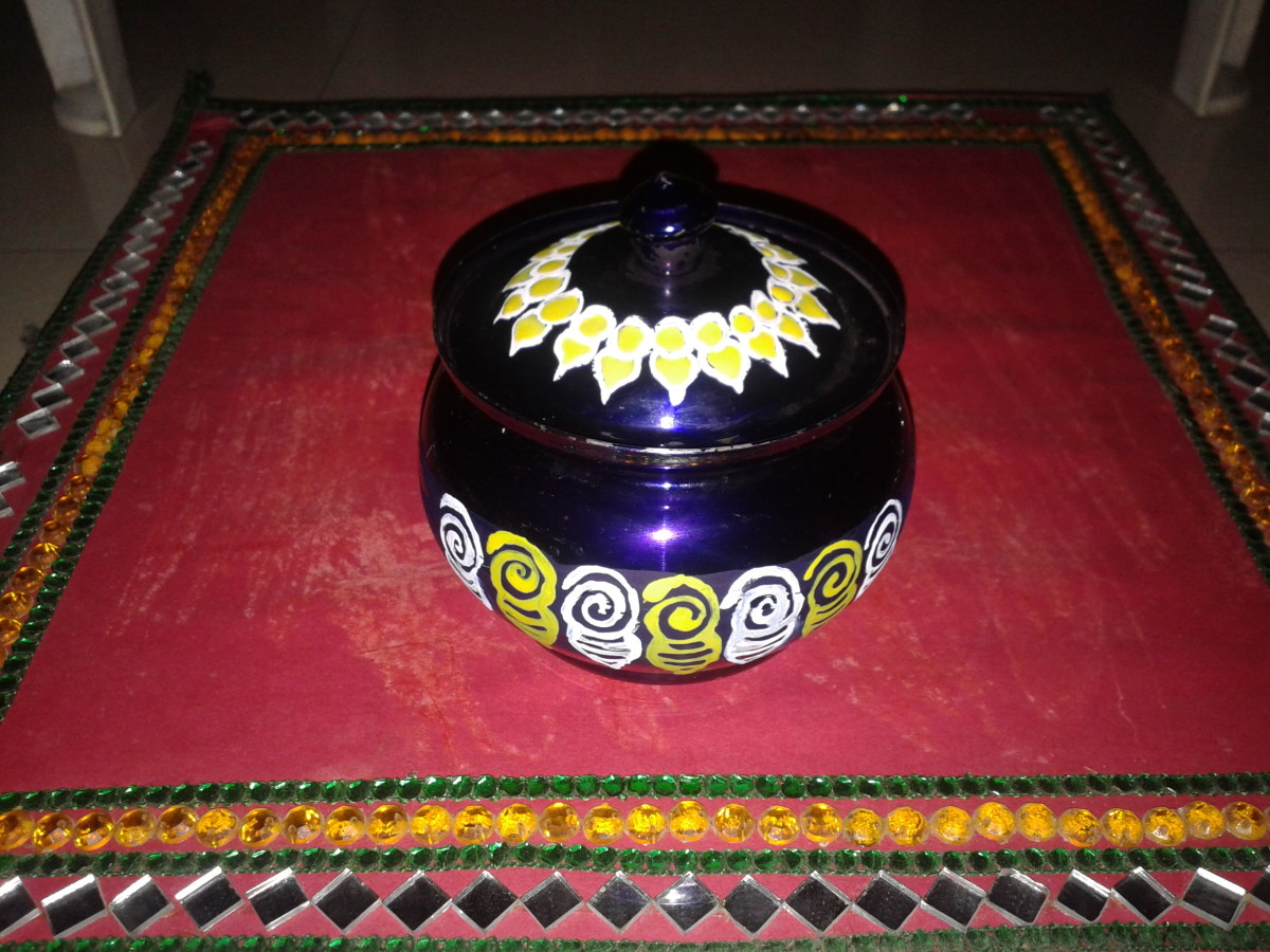 A pot painted in Madhubani