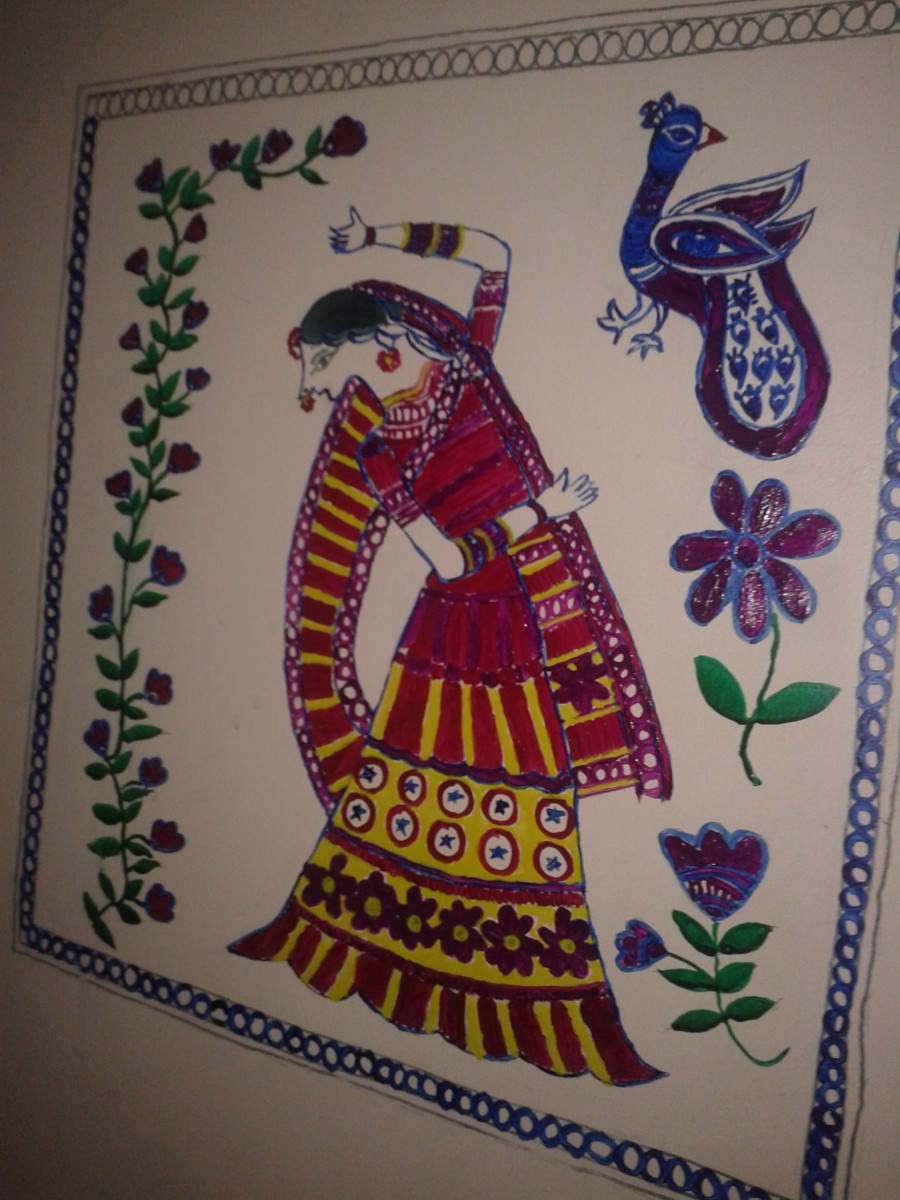 Madhubani wall painting of a woman dancing. A bunch of flowers and peacock are painted as the accompanying themes.