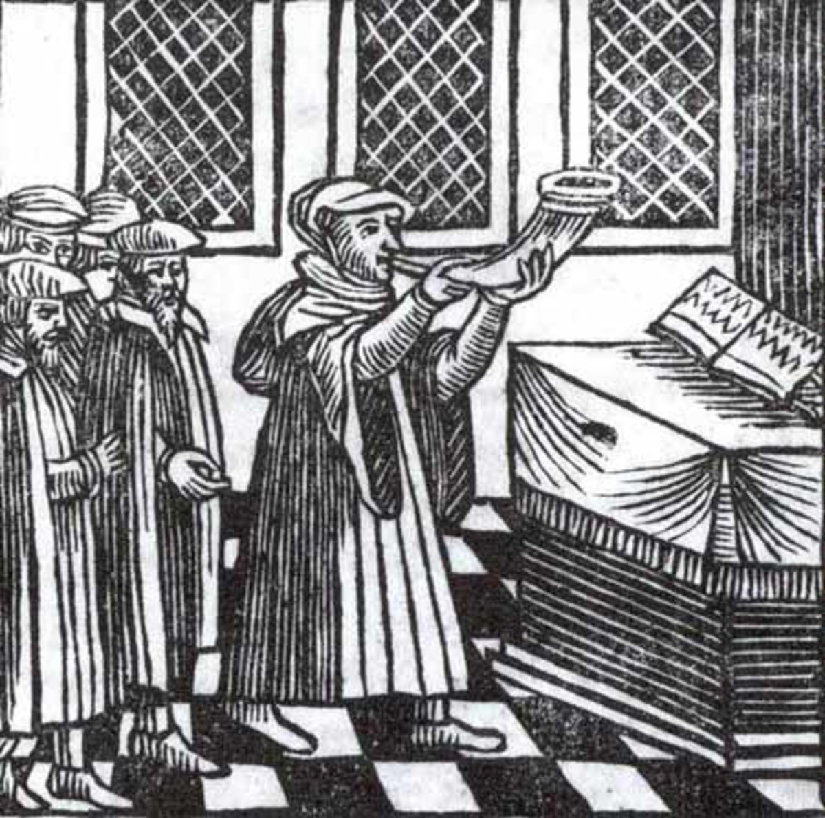 Blowing the Shofar on Rosh Hashanah in  Amsterdam, Passover Haggadah, 1695.