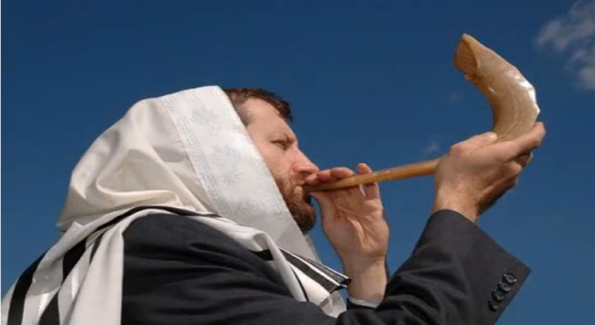 Blowing a Small Ram's Horn Shofar