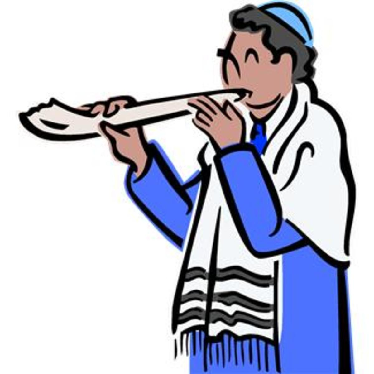 Blowing the Shofar at Rosh Hashanah Service