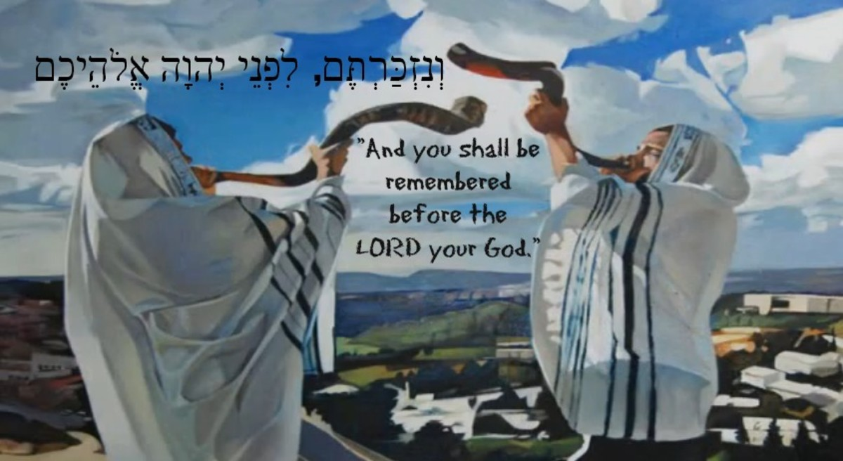 Sounding the shofar over the hills of Jerusalem