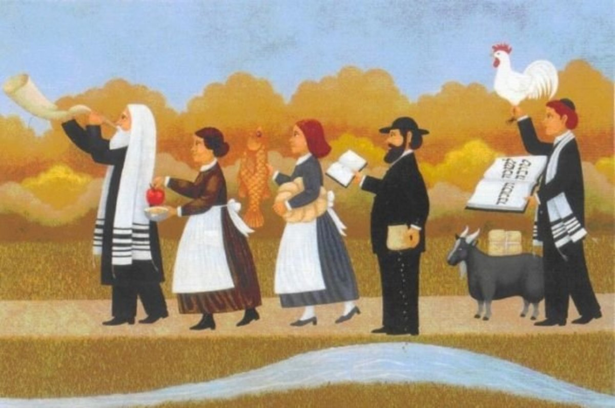 Painting depicting Rosh Hashanah traditions in Poland