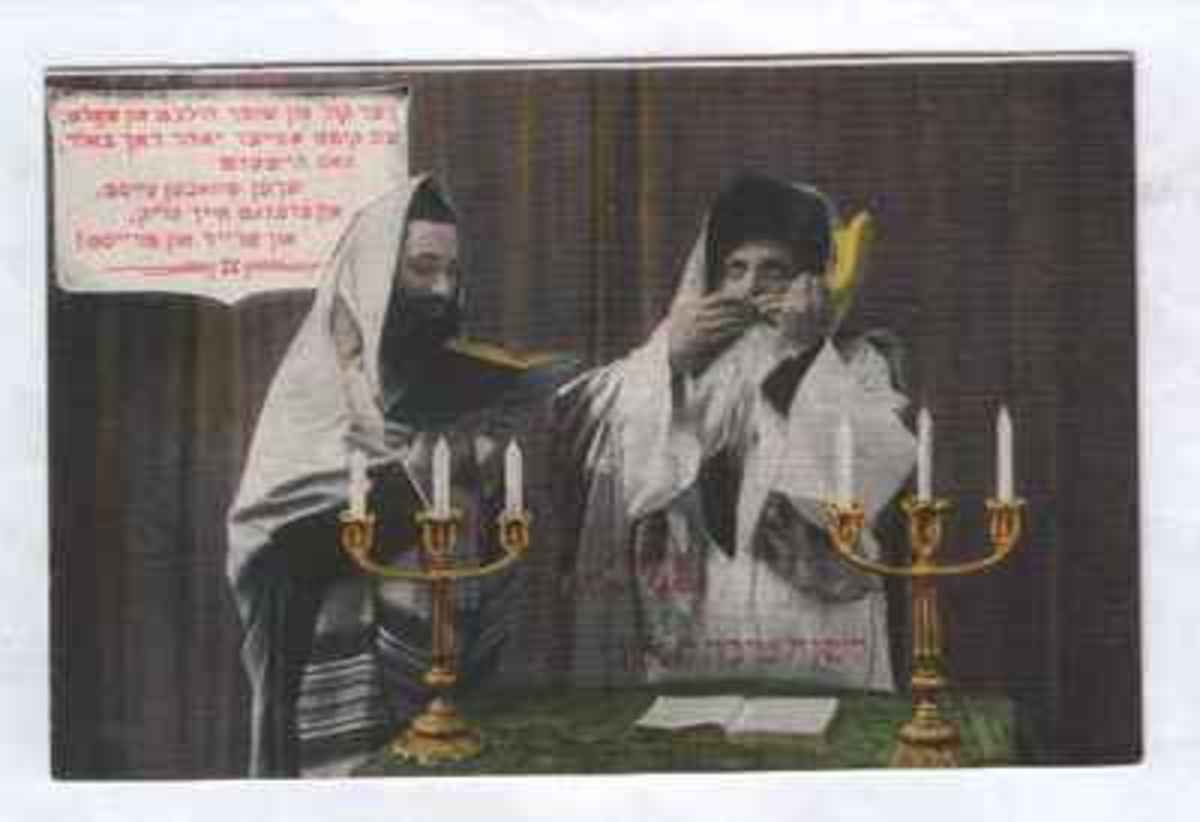Blowing the Shofar from Vintage Rosh Hashanah Greeting Card