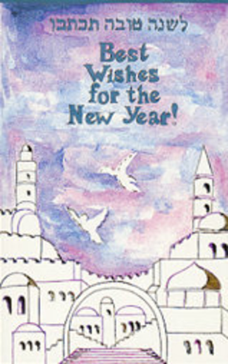 Jewish New Year Greeting with Doves Flying over Jerusalem