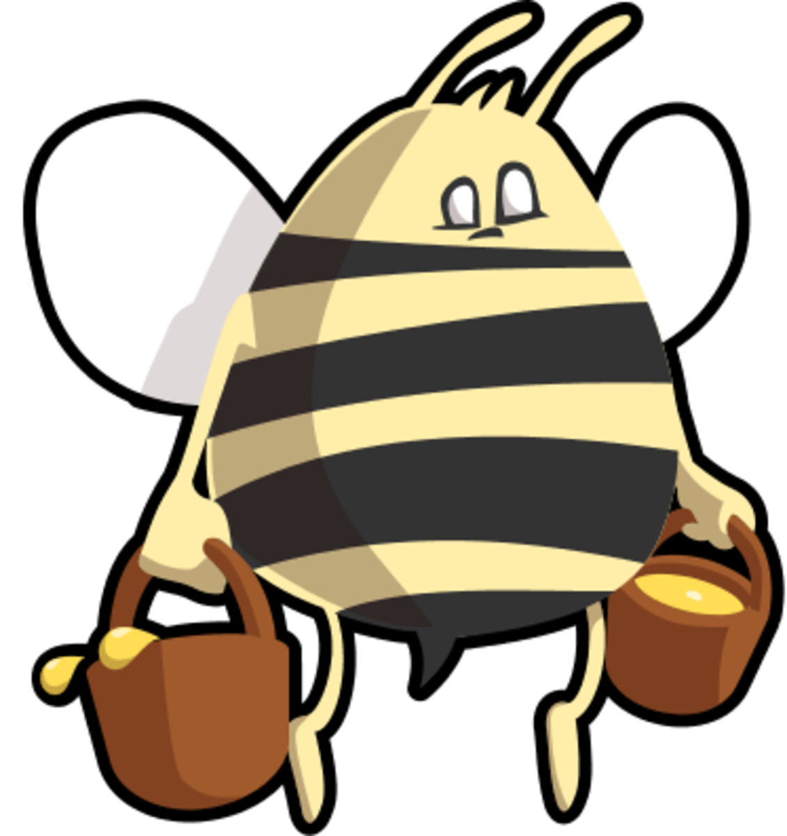 Bee bringing buckets of honey