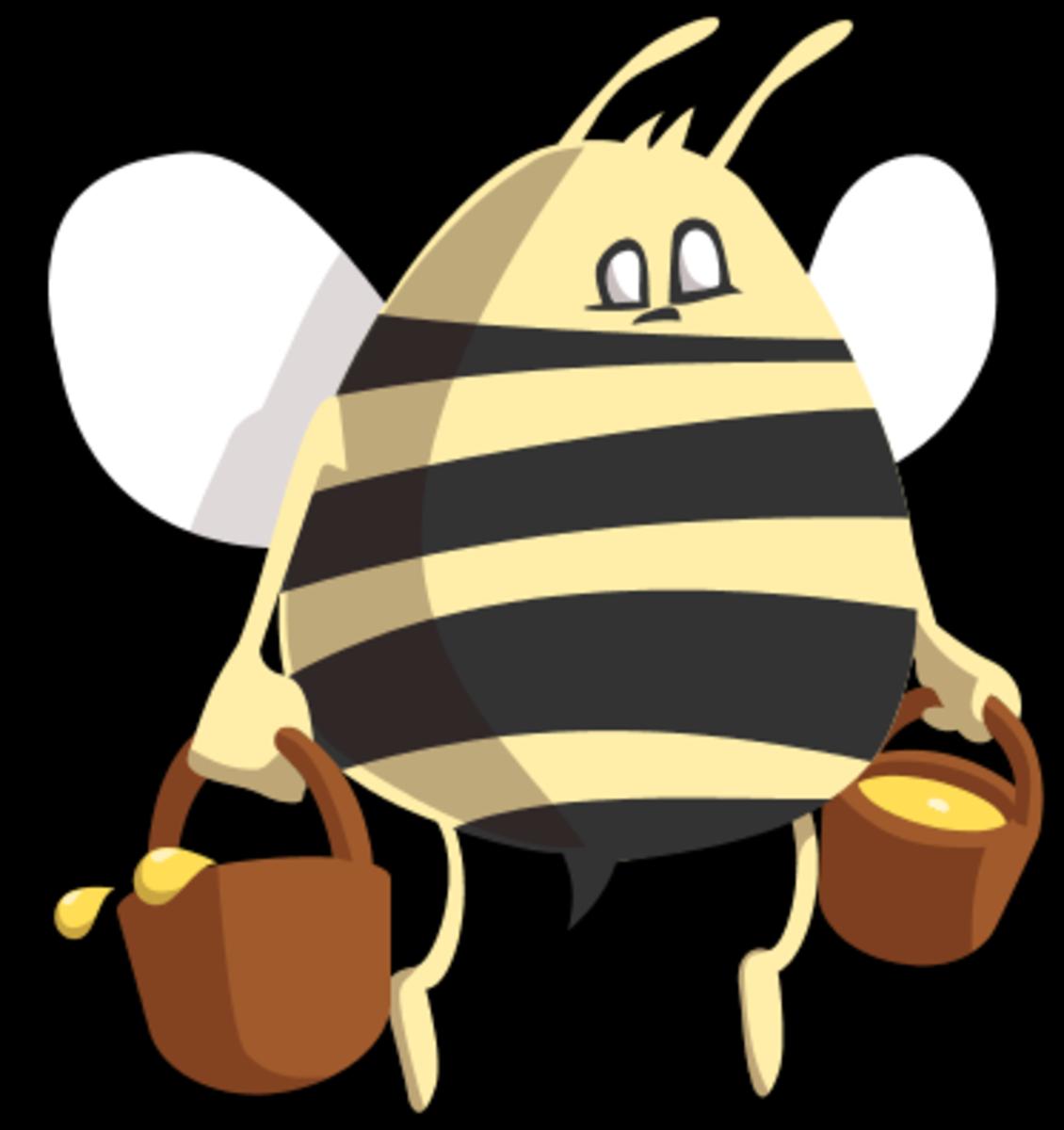Bee bringing buckets of honey