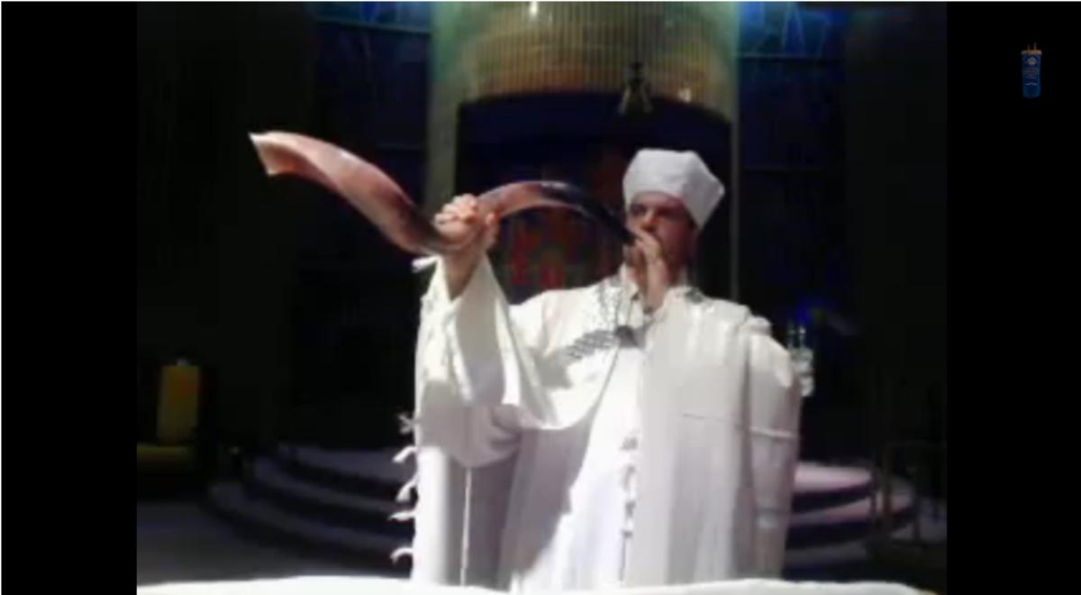 Blowing the Shofar in the Synagogue Rosh Hashanah Prayer Service