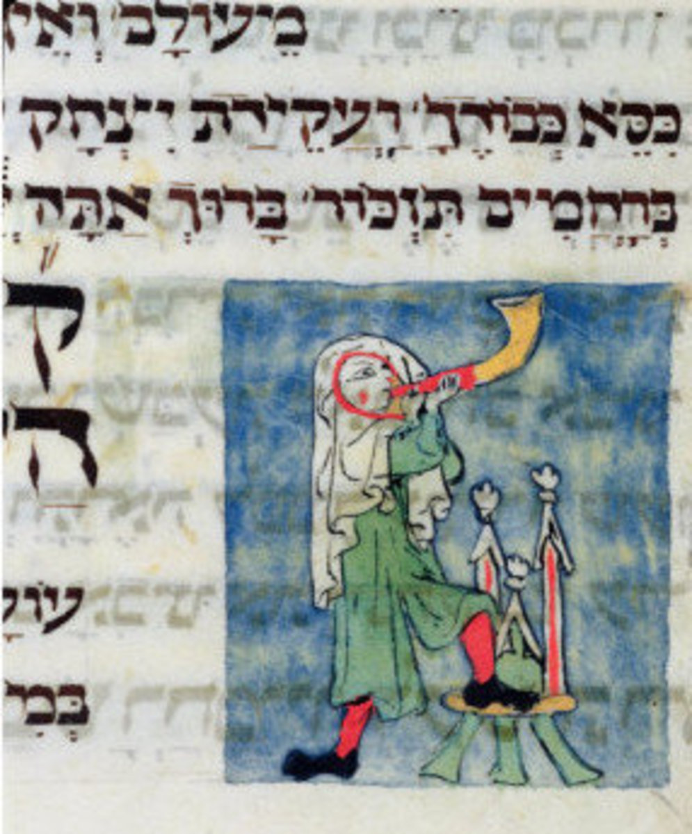 Blowing the Shofar from a 13th-Century Rosh Hashanah Prayer Book