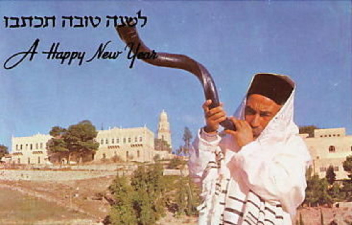 Blowing the Shofar in Jerusalem, Israel, from Vintage Rosh Hashanah Greeting Card