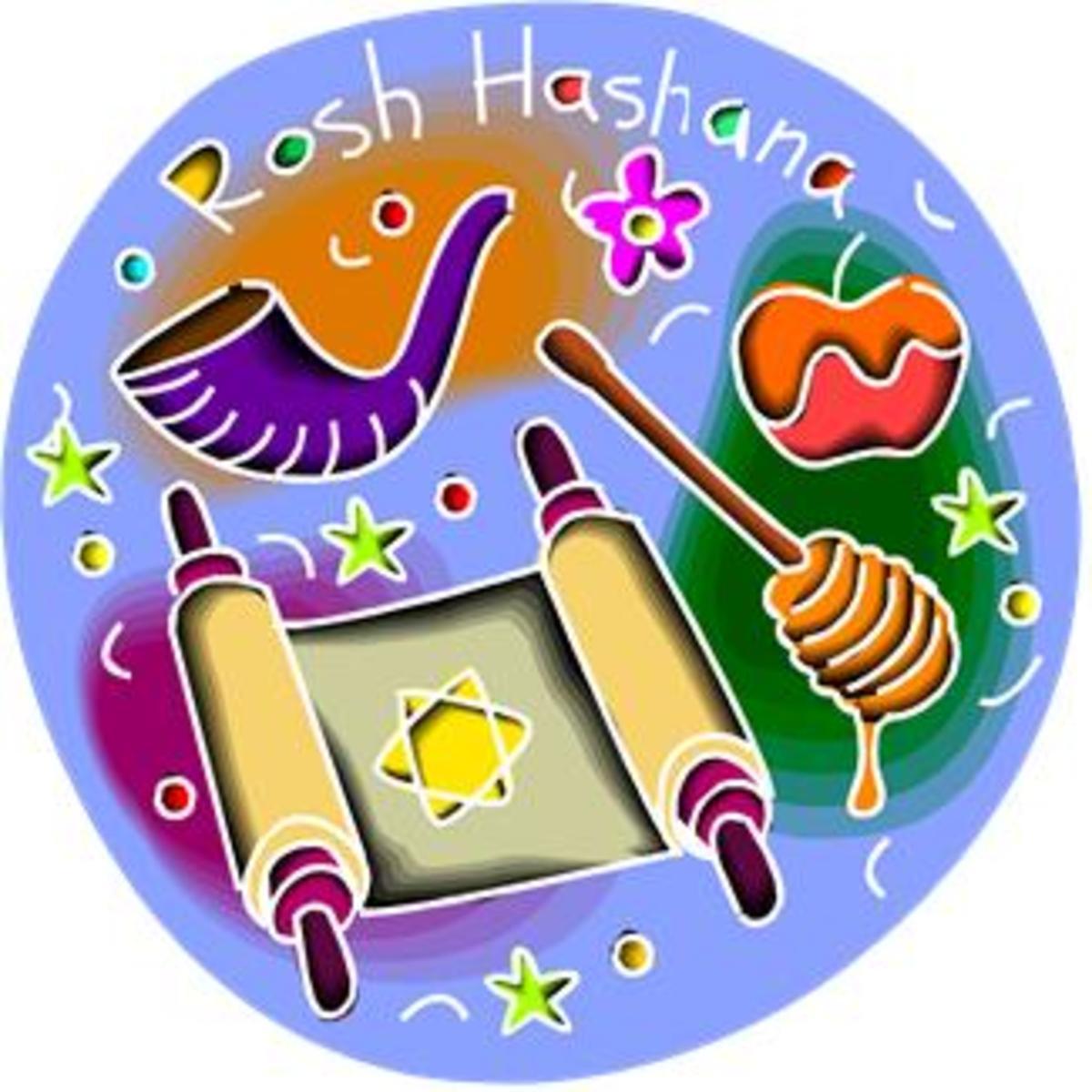 Apple, Honey, Torah Scroll and Shofar