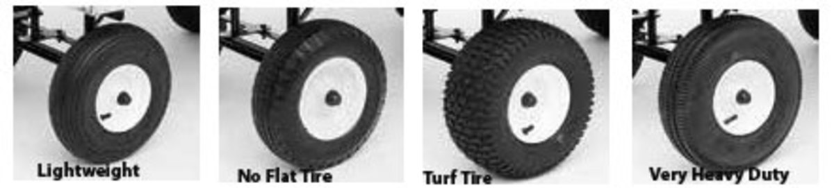 Amish aluminum dumping wagons have four different tire options.