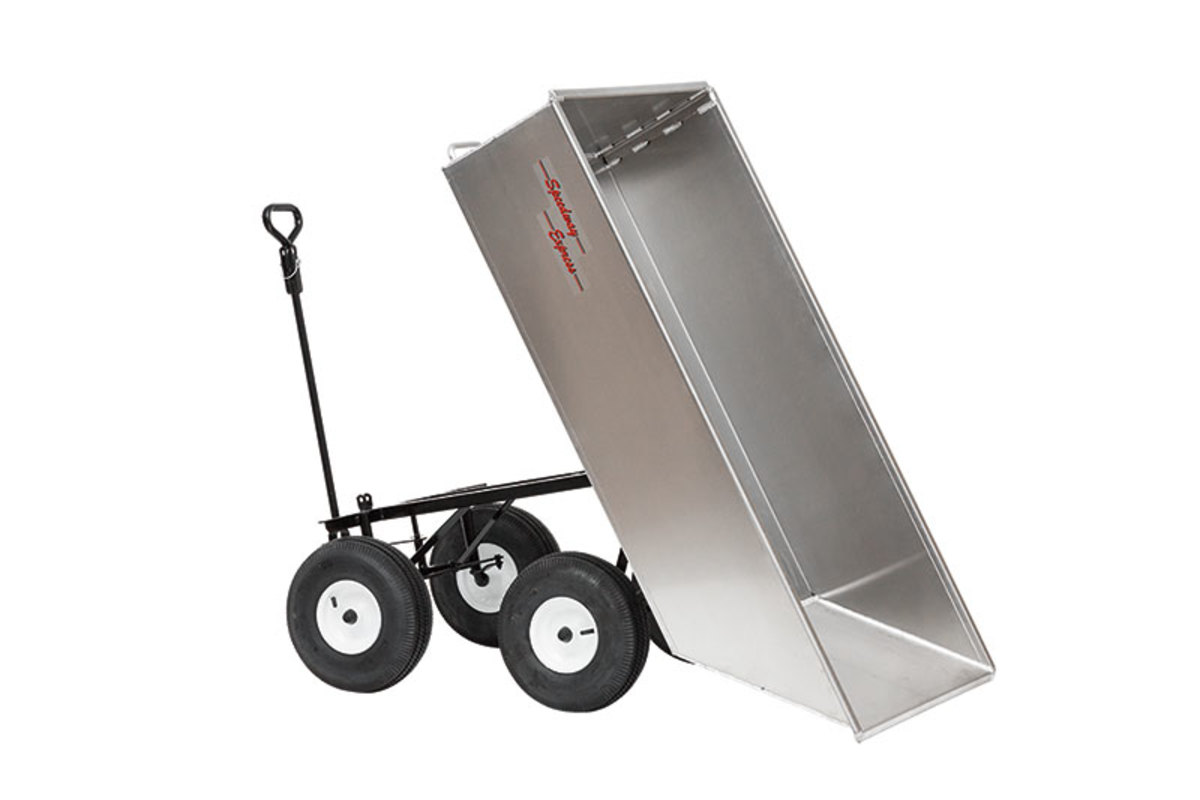 Amish made tandem axle aluminum dump carts.