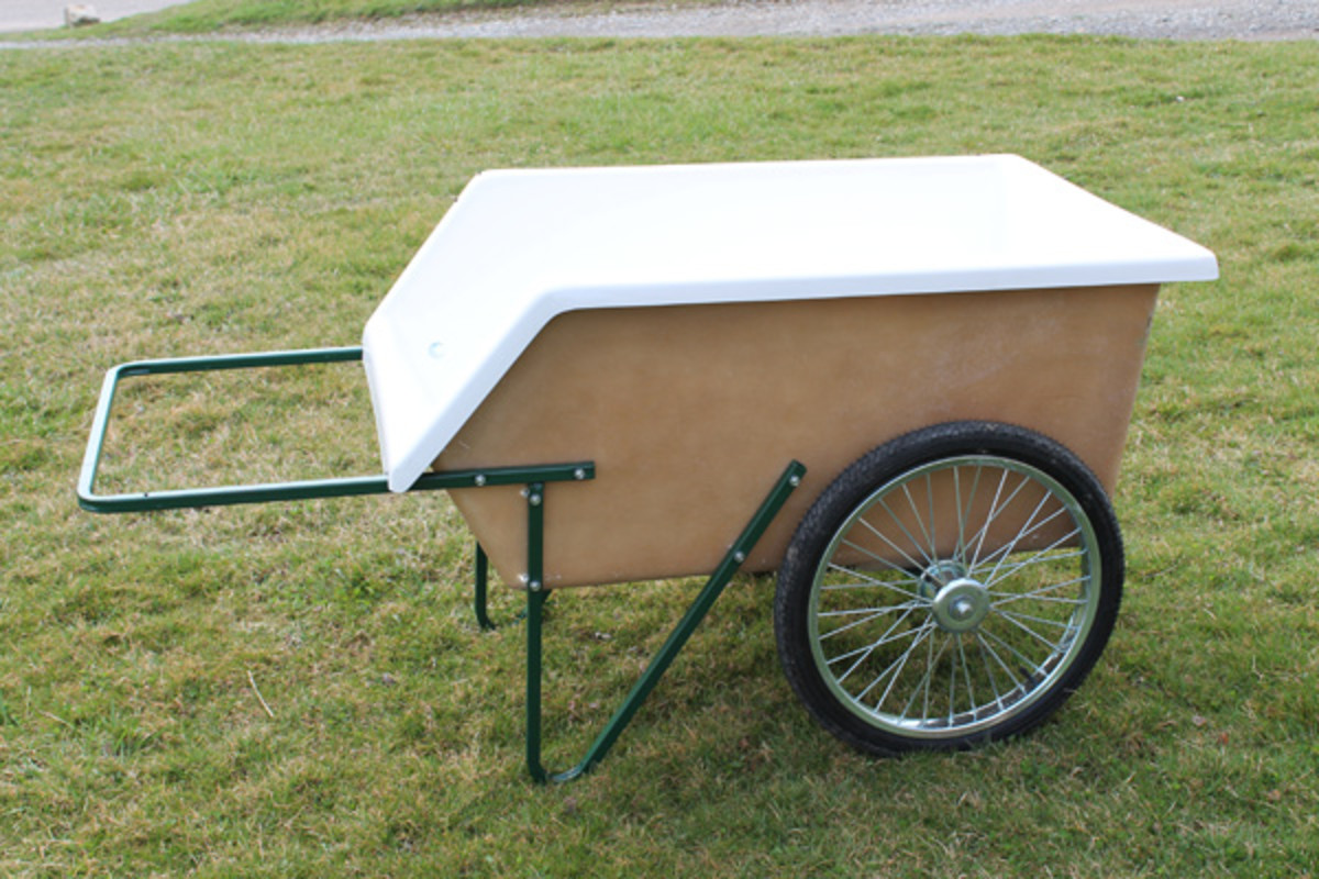 Amish fiberglass tub garden and wet material cart