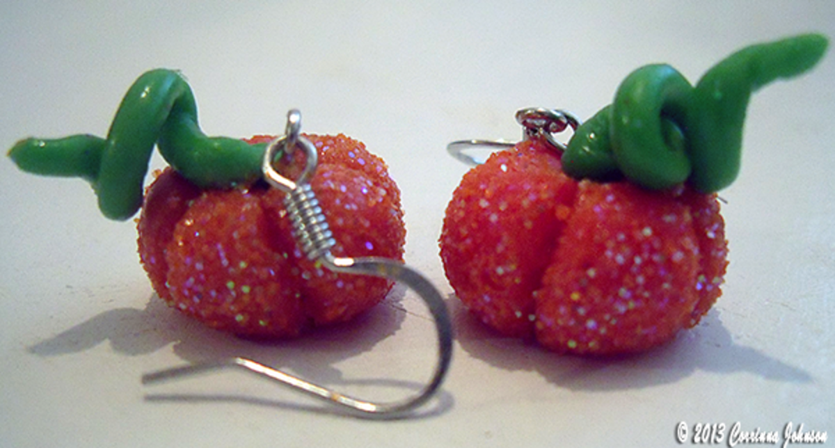Glitter Polymer Clay Pumpkin Earrings © 2013 Corrinna Johnson