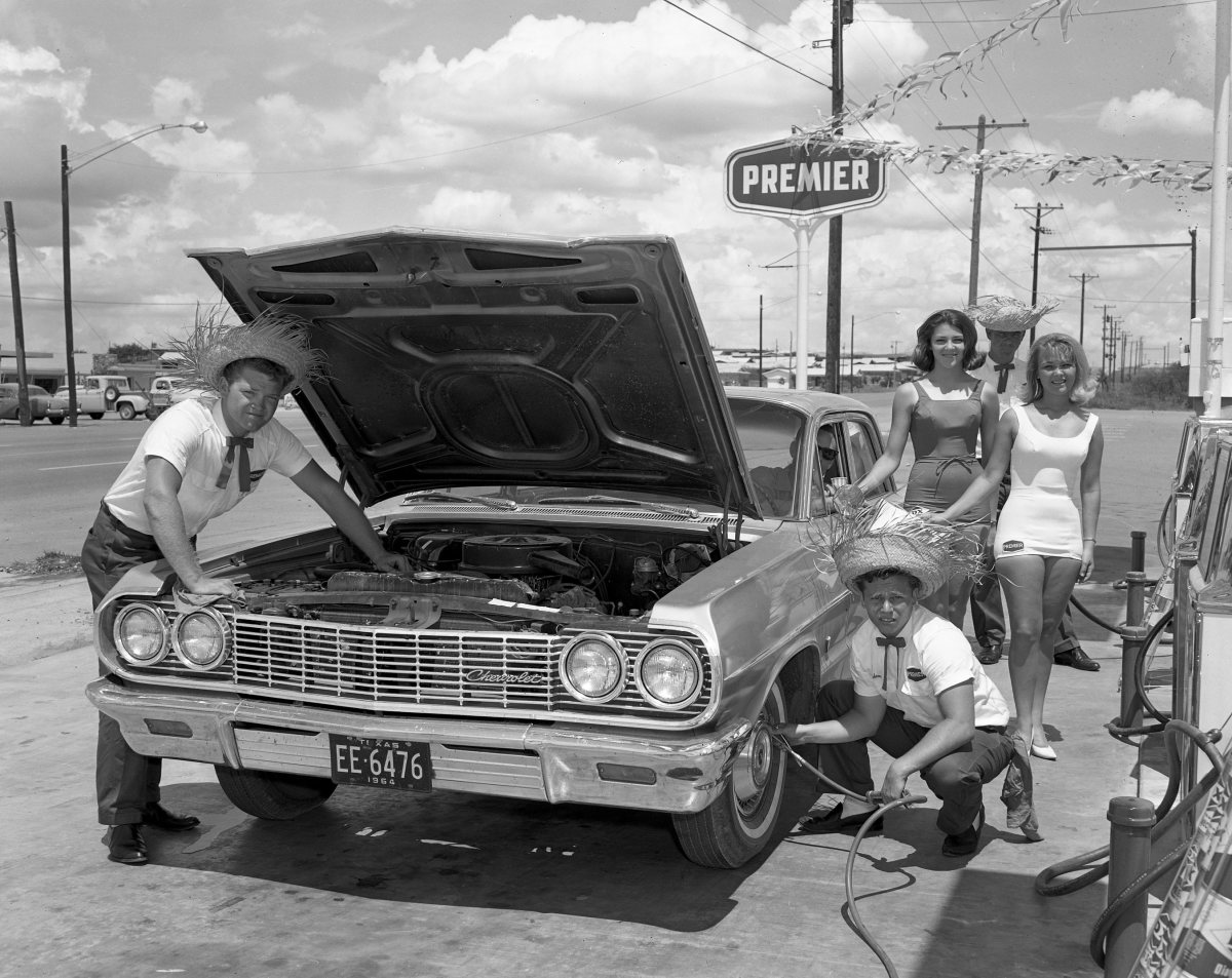 Wouldn't it be nice to receive service like this at gas stations these days? Unfortunately, those sky high prices don't include courtesy checks for your vehicle.