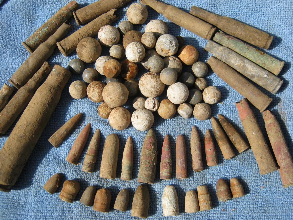 Musket Balls, Pistol Balls, Bullet Shells and Bullets.