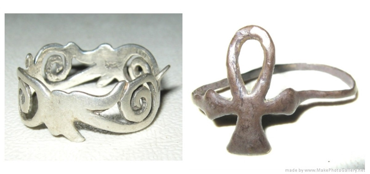 Two silver rings. The one on the left is modern. The one on the right is 19th century.