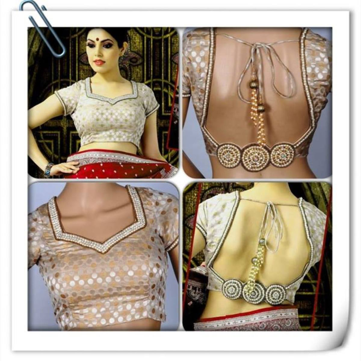 Party saree blouse from all views.